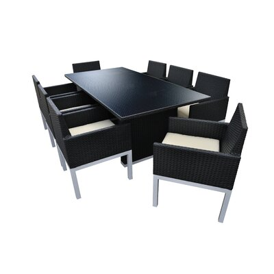 Tuum 9 Piece Dining Set with Cushions Finish: Black, Cushion Color: Beige