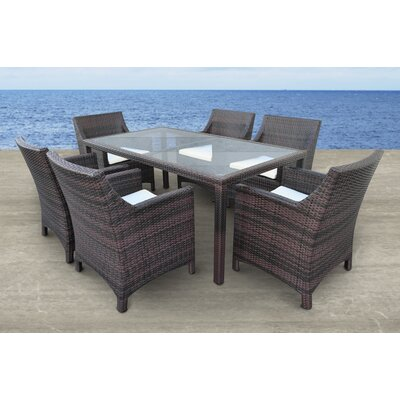 Vespera 7 Piece Dining Set with Cushions Finish: Brown, Cushion Color: Cream