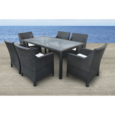 Vespera 7 Piece Dining Set with Cushions Finish: Black, Cushion Color: Beige