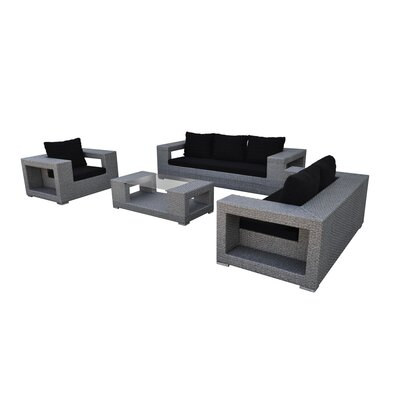 Agujero 4 Piece Seating Group with Cushion Finish: Cement Gray, Fabric: Black