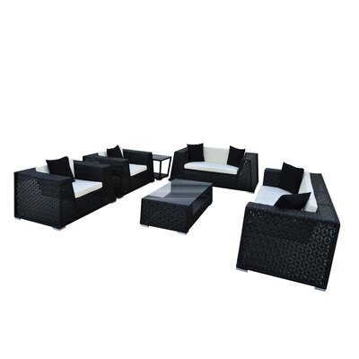 Nantucket 6 Piece Seating Group with Cushion Finish: Black, Fabric: Cream