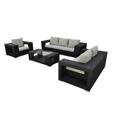 Agujero 4 Piece Seating Group with Cushion Finish: Black, Fabric: Beige