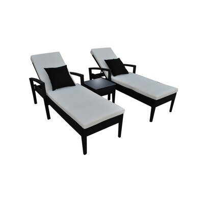 Frigor 3 Piece Chaise Lounge Set with Cushions Finish: Black, Fabric: Beige