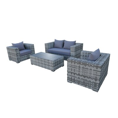 Magna 4 Piece Seating Group with Cushion Fabric: Gray