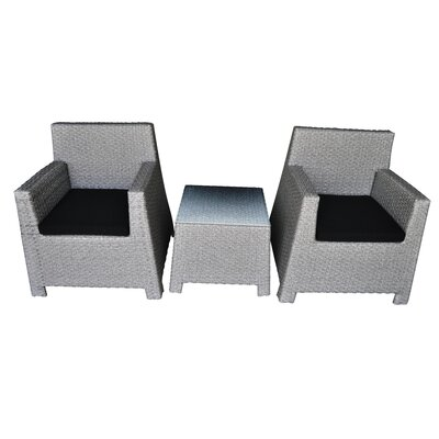Porto 3 Piece Seating Group with Cushion Finish: Cement Gray, Fabric: Black