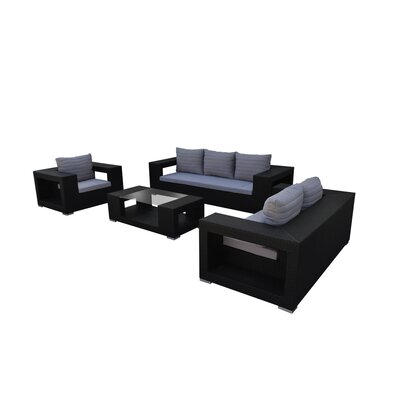 Agujero 4 Piece Seating Group with Cushion Finish: Black, Fabric: Gray