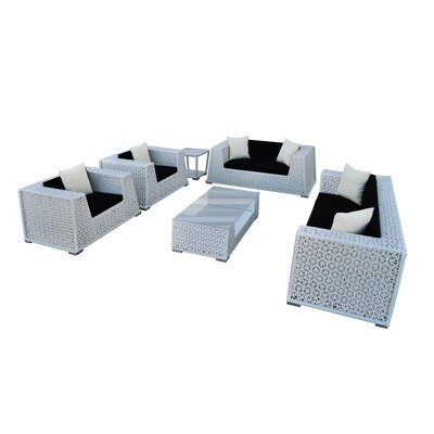 Nantucket 6 Piece Seating Group with Cushion Finish: White, Fabric: Black