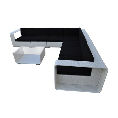 Cristallo 8 Piece Seating Group with Cushion Finish: White, Fabric: Black