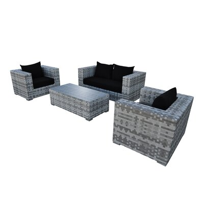Magna 4 Piece Seating Group with Cushion Fabric: Black