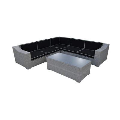 San Mateo 6 Piece Seating Group with Cushion Finish: Cement Gray, Fabric: Black