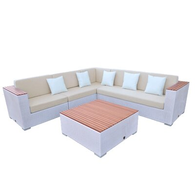 Majestic 5 Piece Seating Group Finish: White, Fabric: Beige