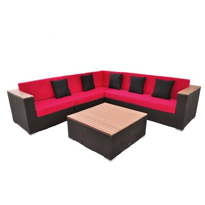 Majestic 5 Piece Seating Group Finish: Brown, Fabric: Red