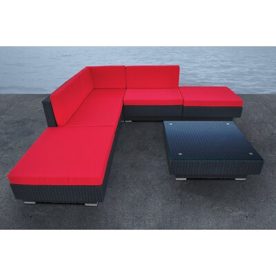 Cavalli 5 Piece Seating Group with Cushions Fabric: Red