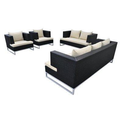 Braccio 4 Piece Lounge Seating Group with Cushion Finish: Black, Fabric: Beige