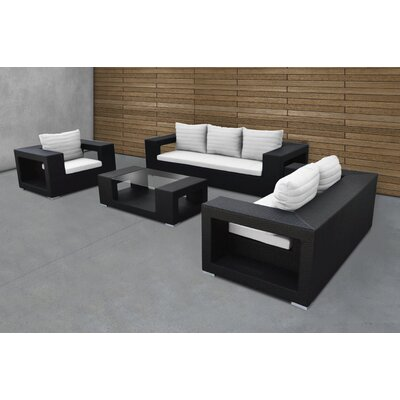 Agujero 4 Piece Deep Seating Group With Cushion Rattan Color: Black
