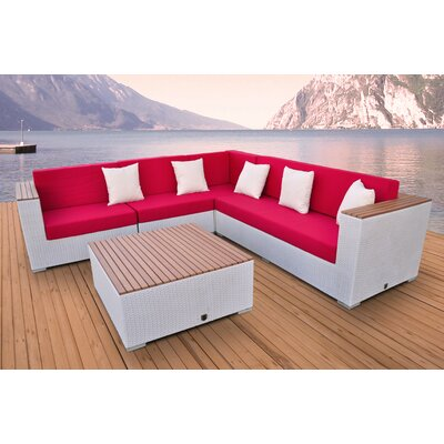 Majestic 5 Piece Deep Seating Group Fabric: Red