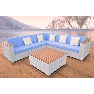 Majestic 5 Piece Deep Seating Group Fabric: Light Blue