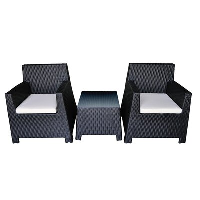 Porto 3 Piece Seating Group with Cushion Finish: Black, Fabric: Cream