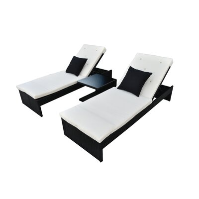Plenus 3 Piece Chaise Lounge with Cushion Finish: Black, Fabric: Cream