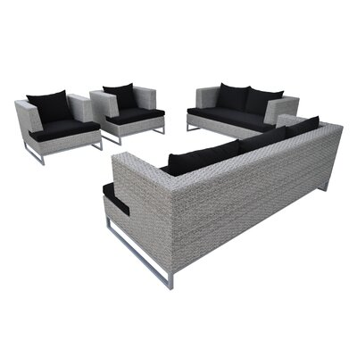 Braccio 4 Piece Lounge Seating Group with Cushion Finish: Cement Gray, Fabric: Black