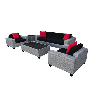 Vizela 5 Piece Seating Group with Cushions Fabric: Black