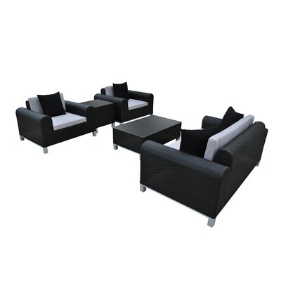 Amora 5 Piece Seating Group with Cushions Finish: Black, Fabric: Gray