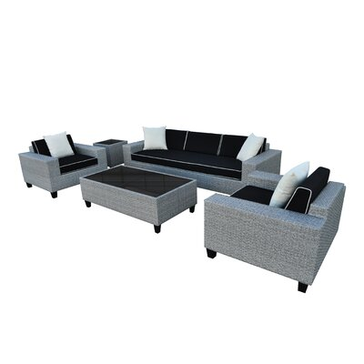 Vizela 5 Piece Seating Group with Cushions Fabric: Black and Cream