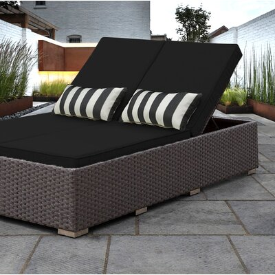 Benitto Double Chaise Lounge with Cushion Fabric: Black