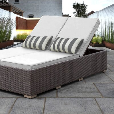 Benitto Double Chaise Lounge with Cushion Fabric: White