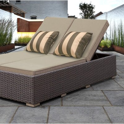 Benitto Double Chaise Lounge with Cushion Fabric: Beige