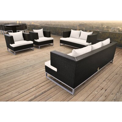 Braccio 4 Piece Lounge Seating Group with Cushion Finish: Black, Fabric: White