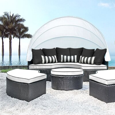 Sombra Daybed with Cushions Fabric: White/Black