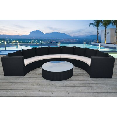 Avalon 5 Piece Seating Group with Cushion Finish: Black, Fabric: Cream