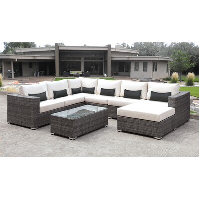 Lusso 7 Piece Sectional Seating Group with Cushion Finish: Black
