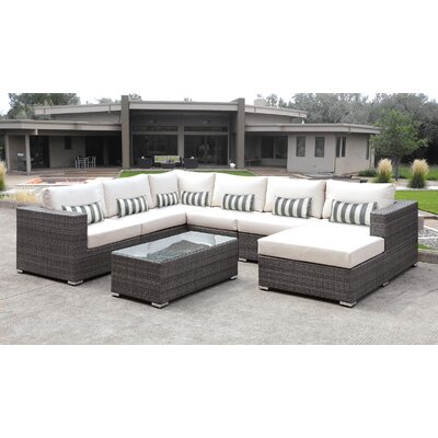 Lusso 7 Piece Sectional Seating Group with Cushion Finish: Gray & White