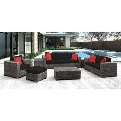 Lusso 7 Piece Deep Seating Group with Cushion Finish: Black with Red