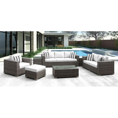Lusso 7 Piece Deep Seating Group with Cushion Finish: White with Gray/White Stripe