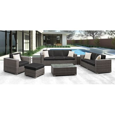Lusso 7 Piece Deep Seating Group with Cushion Finish: Black with White