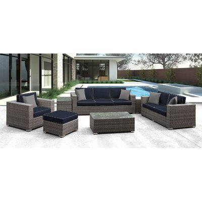 Lusso 7 Piece Deep Seating Group with Cushion Finish: Navy with Gray
