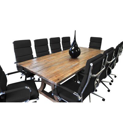 11 Piece Ligna 8 Rectangular Conference Table Set Finish: Black