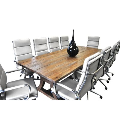 11 Piece Ligna 8' Rectangular Conference Table Set Finish: White