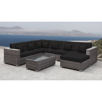 Lusso Patio Rattan 7 Piece Sectional Seating Group with Cushions and Square Toss Pillows Accent Pillow Fabric: Black