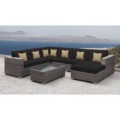 Lusso Patio Rattan 7 Piece Sectional Seating Group with Cushions and Square Toss Pillows Accent Pillow Fabric: Tan