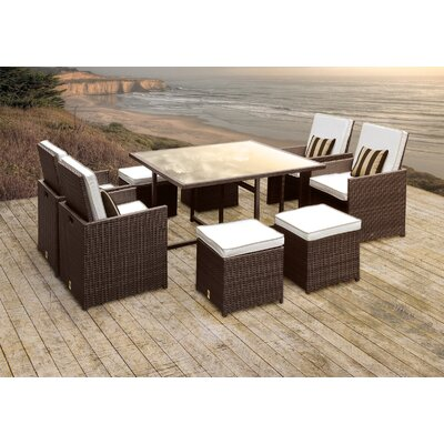 Stella II Patio Rattan 9 Piece Dining Set with Cushions and Square Toss Pillows Cushion Color: White/Cream