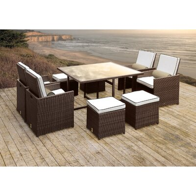 Stella II Patio Rattan 9 Piece Dining Set with Cushions and Cylinder Toss Pillows Cushion Color: White/Black