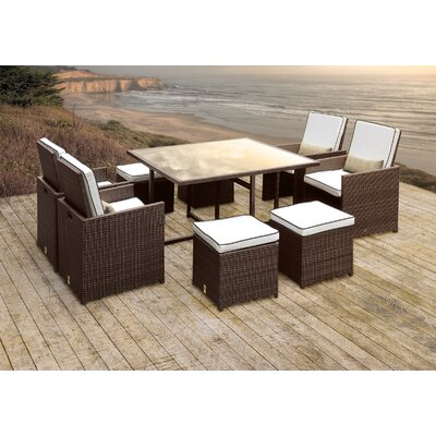 Stella II Patio Rattan 9 Piece Dining Set with Cushions and Rectangular Toss Pillows Cushion Color: White/Black