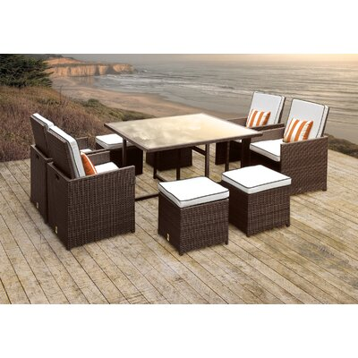 Stella II Patio Rattan 9 Piece Dining Set with Cushions and Square Toss Pillows Cushion Color: White/Black