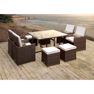 Stella II Patio Rattan 9 Piece Dining Set with Cushions and Cylinder Toss Pillows Cushion Color: White/Red