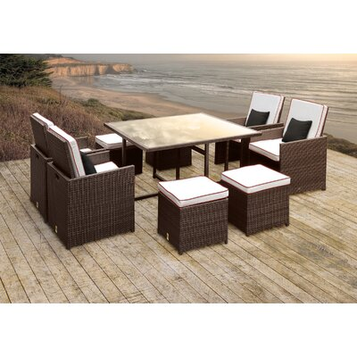 Stella II Patio Rattan 9 Piece Dining Set with Cushions and Square Toss Pillows Cushion Color: White/Red
