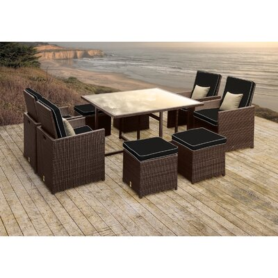 Stella II Patio Rattan 9 Piece Dining Set with Cushions and Square Toss Pillows Cushion Color: Black/White